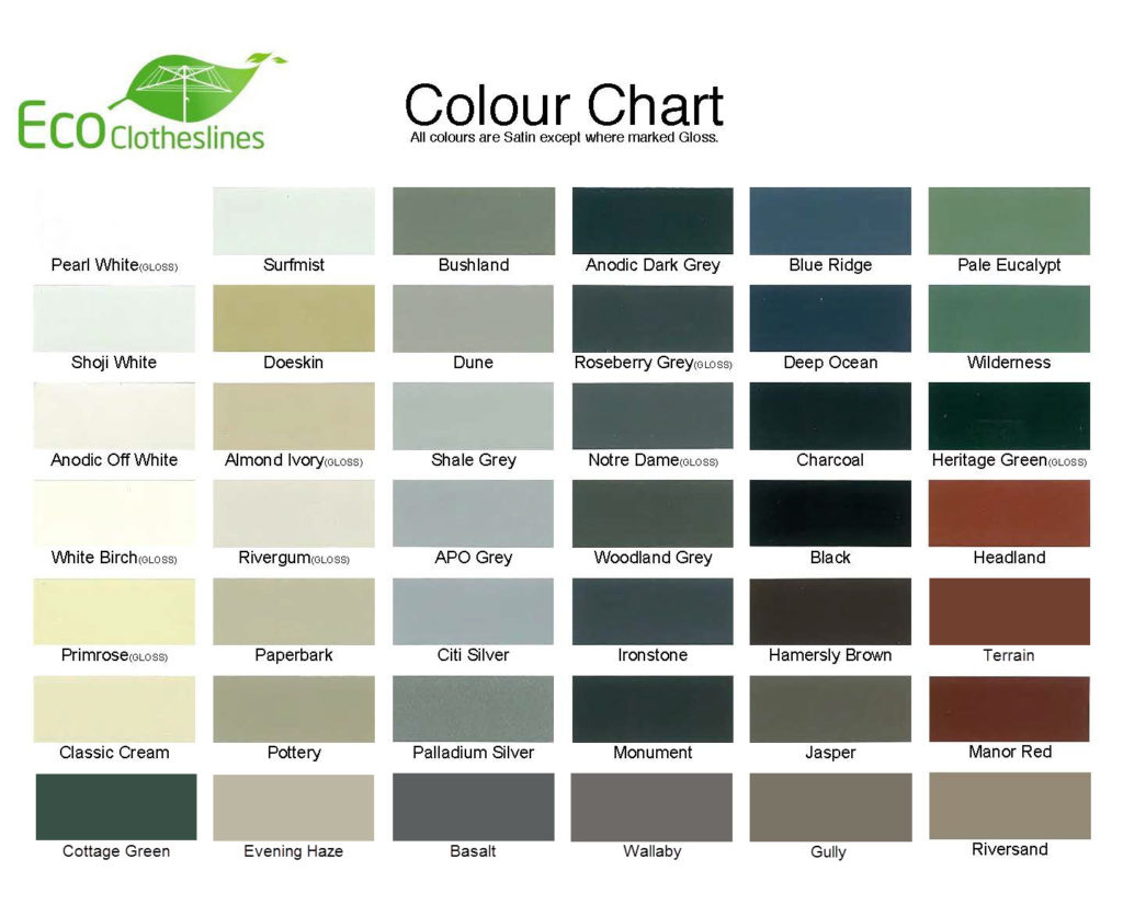 Eco Clotheslines colour chart